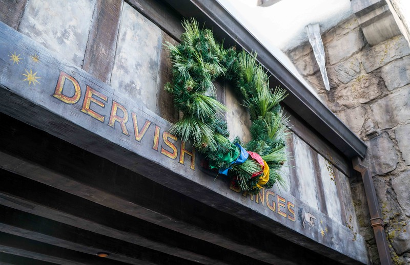 """Christmas in The Wizarding World of Harry Potter"" decor at Universal Studios Hollywood."