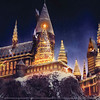 """Hogwarts castle at """"Christmas in The Wizarding World of Harry Potter"""" at Universal Studios Hollywood."""