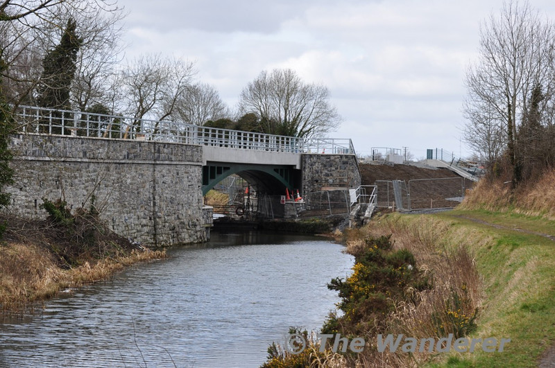 The new bridge over the Royal Canal for the railway line to Pace which is in the process of being rebuilt. Sat 20.03.10