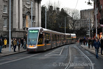 """5005 passes through College Green heading for Sandyford. Sat 09.12.17<br /> <br /> Check out my video on youtube of the first public run from St. Stephen's Green to Broombridge <a href=""""https://youtu.be/ZZl53Yq45a8"""">https://youtu.be/ZZl53Yq45a8</a>"""