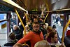 Passengers onboard 5019 on the first northbound tram on LUAS Cross City. Sat 09.12.17