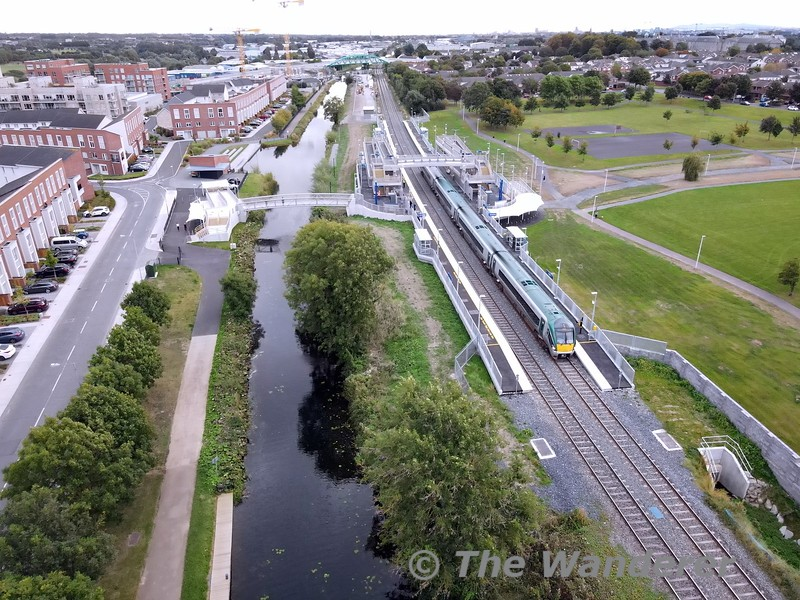 22021 passes the new Pelletstown Station which opened earlier that morning with the 0905 Connolly - Sligoi Sun 26.09.21