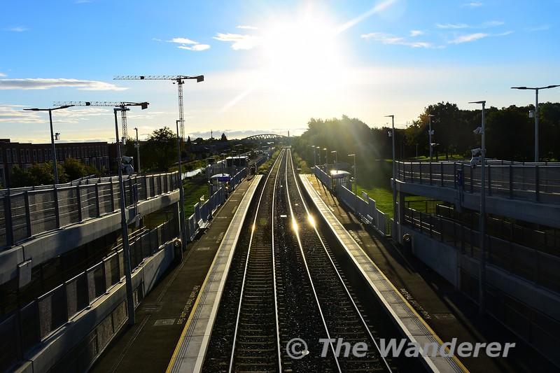 View from the footbridge at Pelletstown looking east towards Broombridge. Sun 26.09.21
