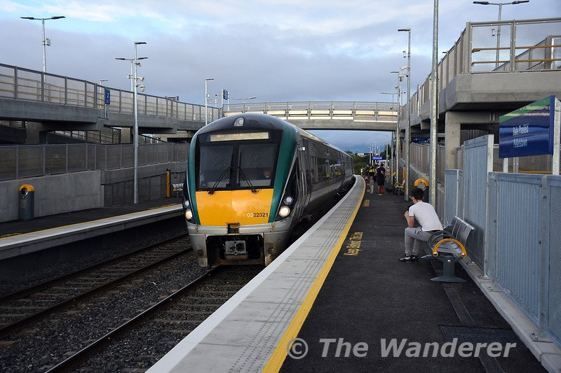 22021 arrives into Pelletstown with the 0807 Maynooth - Connolly, the first train to call at the new station. Sun 26.09.21