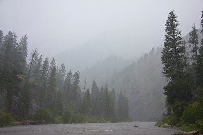 Tuesday, 7/21.  Heavy rain and intense thunderstorm as seen from the deck of a sweep boat in Pungo Canyon.