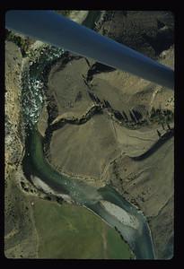 Looking down onto the debris flow slides at Haystack Rapid.