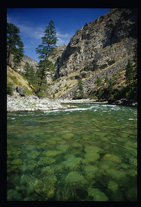 Gin clear water and cliffs of Idaho Batholith Granite in Impassable Canyon.