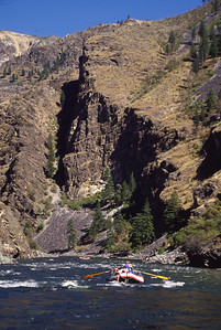 Vertical walls of metamorphic Gneiss flank the river in Lower Impassable Canyon.