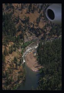 An aerial view of the Orelano creek debris flow.