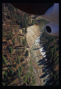 An aerial view of the initial Lake Creek debris fan in August of 2001.