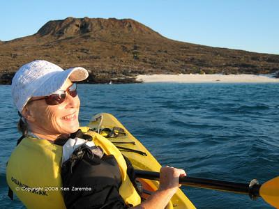 Susan Kayaking near Sombrero Chino, Isla Santiago, in the Galapagos, 11/07/08