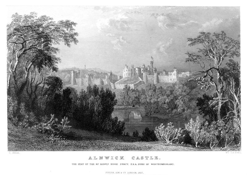 Alnwick Castle, the seat of the Percys since 1309, on the river Aln. Print from the 19th century.