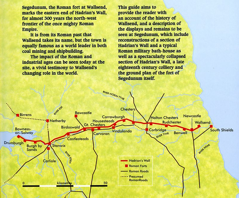 Map showing all of Hadrian's Wall - Wallsend is at the far right, and South Shields, which is not connected by any wall, is a fort on the south of the Tyne river