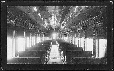2009.018.01.050--Ohio Falls Car Mfg Co 7.5x4.25 cabinet card--New York Ontario & Western--interior view of passenger coach--Jeffersonville IN--no date
