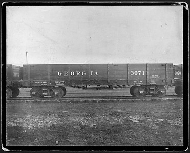 2009.018.01.014--Ohio Falls Car Mfg Co 9.5x7.75 cabinet card--Georgia Railroad--wooden gondola 3017--Jeffersonville IN--no date