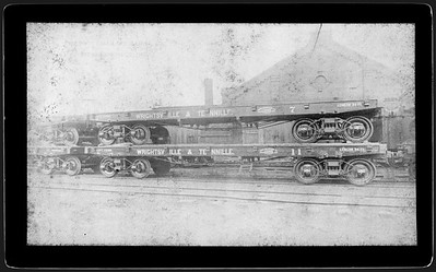 2009.018.01.024--Ohio Falls Car Mfg Co 7.5x4.25 cabinet card--Wrightsville & Tennille--wooden flatcar 7 and 11--Jeffersonville IN--no date