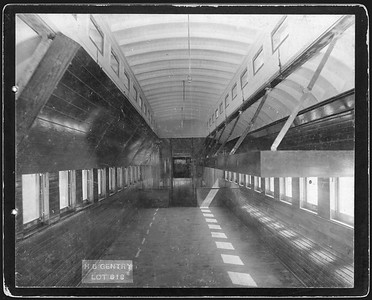 2009.018.01.042--Ohio Falls Car Mfg Co 9.25x7.5 cabinet card--Gentry Brothers Circus--interior view of wooden passenger car--Jeffersonville IN--c1900 0000