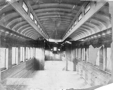 2009.018.01.044--Ohio Falls Car Mfg Co 9.25x7.25 builders print--Gentry Brothers Circus--interior view of wooden passenger car--Jeffersonville IN--c1900 0000