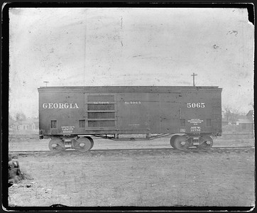 2009.018.01.016--Ohio Falls Car Mfg Co 9.5x7.5 cabinet card--Georgia Railroad--wooden ventilated boxcar 5065--Jeffersonville IN--1895 1000