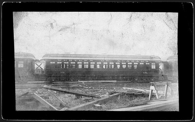2009.018.01.039--Ohio Falls Car Mfg Co 7.25x4.25 cabinet card--Western of Alabama--wooden passenger coach 16--Jeffersonville IN--no date