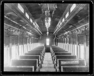 2009.018.01.046--Ohio Falls Car Mfg Co 9.25x7.5 cabinet card--Kewaunee Green Bay & Western--interior view of wooden passenger coach--Jeffersonville IN--no date