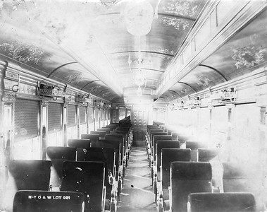 2009.018.01.053--Ohio Falls Car Mfg Co 9.5x7.5 builders print--New York Ontario & Western--interior view of wooden passenger chair car--Jeffersonville IN--no date