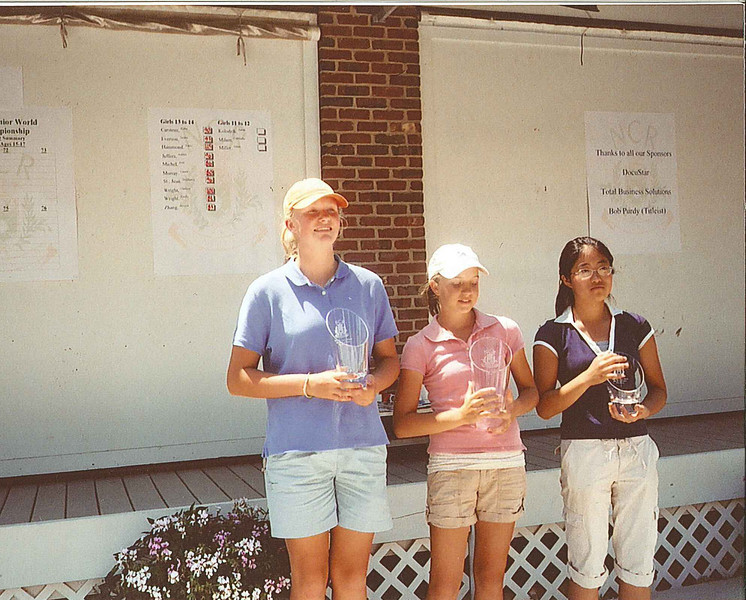 2007 Ohio Junior World Champions, Girls Ages 13-14.  (L) 1st Runner-up, Emily Wright, (C) Champion, Laura Murray, (R) 2nd Runner-up, Jessica Zhang