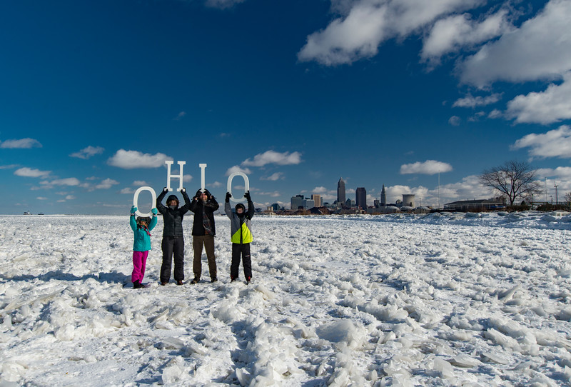 Cleveland Ohio on Frozen Lake Erie