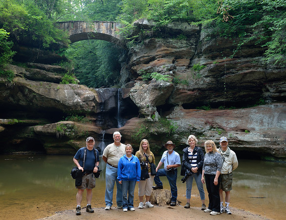Photographers at Upper Falls at the Old Man's Cave Gorge - Hocking Hills