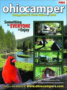 This is the cover of the Ohio Campers 2009 Campground and Travel Guide.  Note the picture above with the E3 and H2 made it to the cover.