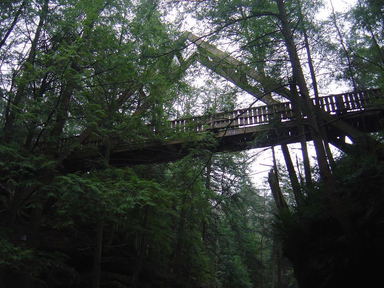 """""""A"""" frame bridge over the small canyon."""