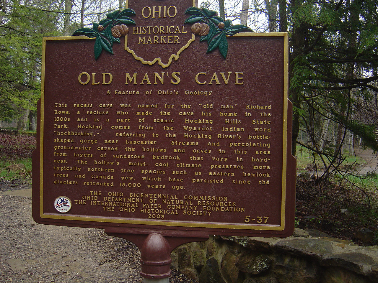 Old man's cave sign