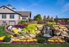 A decorative flower garden and waterfalls near Berlin, Ohio, USA.