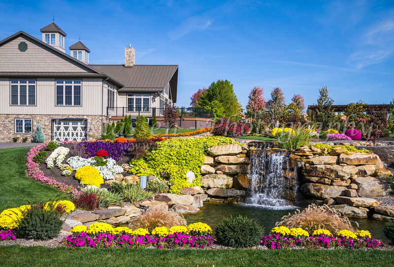 A decorative flower garden and waterfalls near Berlin, Ohio, USA.