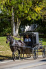 Amish horse and buggy in the countryside near Charm, Ohio, USA.