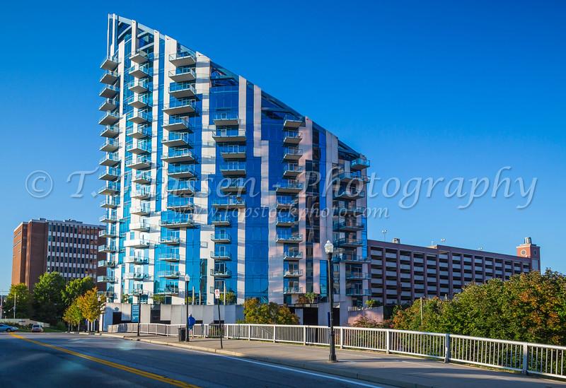 The unique architecture of a condominium in Cincinnati, Ohio, USA.