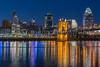The city skyline at dusk of Cincinnati, Ohio, USA.