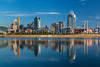 The city skyline and reflections in the Ohio River of Cincinnati, Ohio, USA.