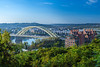 The Ohio River and Big Mac Bridge of Cincinnati, Ohio, USA.