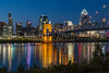 The city skyline at dusk of Cincinnati, Ohio, USA.
