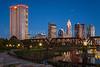 The city skyline of Columbus, Ohio at dusk.