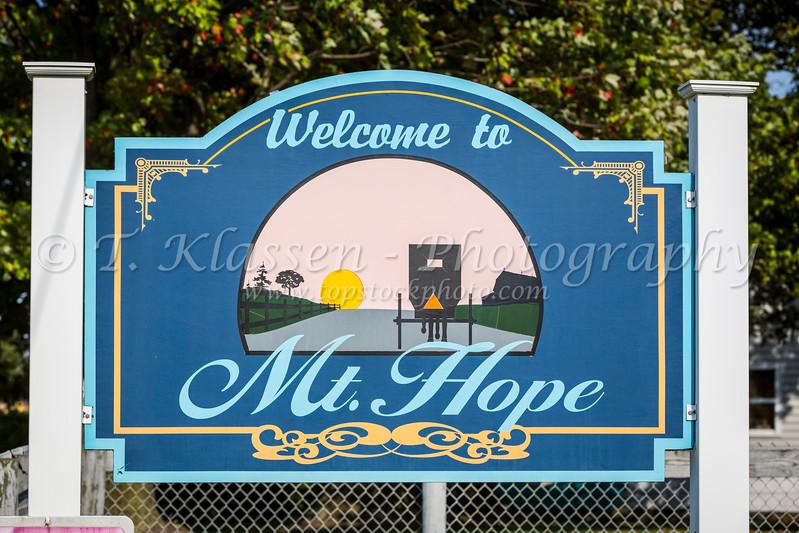 The Mt. Hope village sign, Ohio, USA.