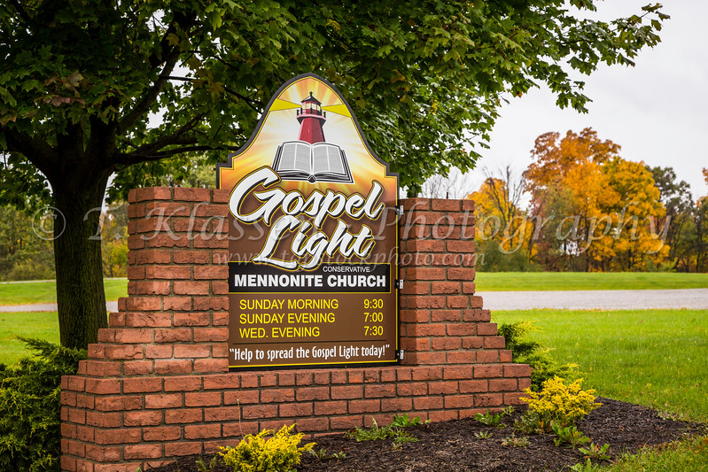 The Gospel Light Mennonite Church sign near Winesburg, Ohio, USA.