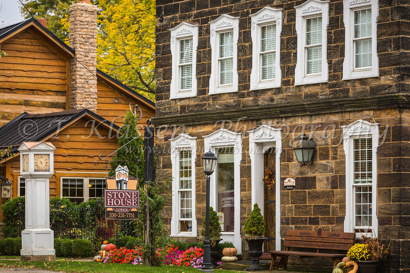 The Stone House historic building in the village of Winesburg, Ohio, USA.