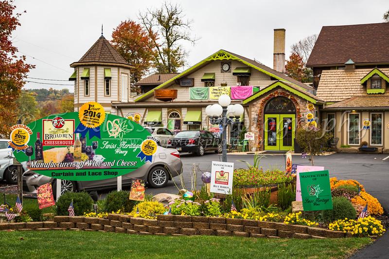 Shops in downtown Sugar Creek, Ohio, USA.