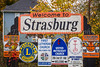 The Welcome to Strasburg, Ohio sign.