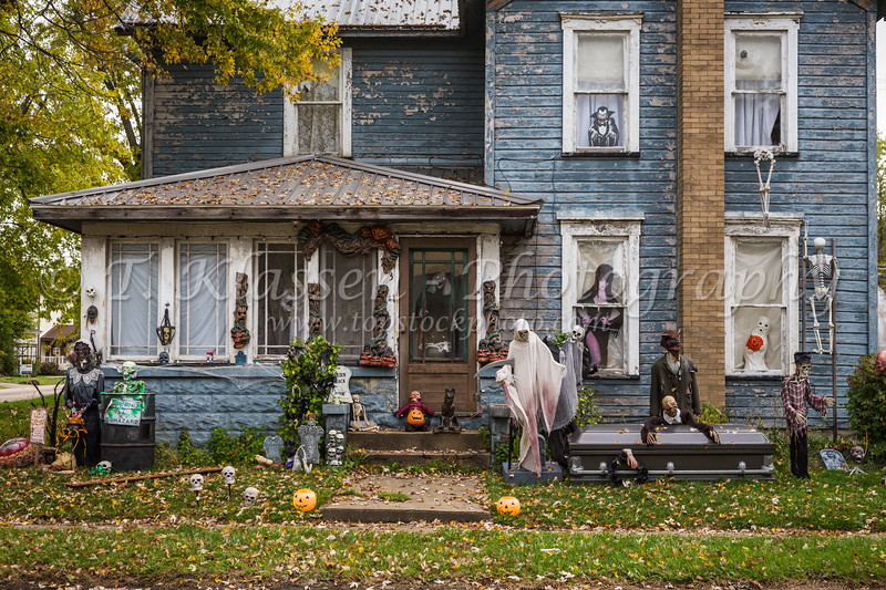 A home decorated with Halloween paraphernalia in Stasburg, Ohio, USA.
