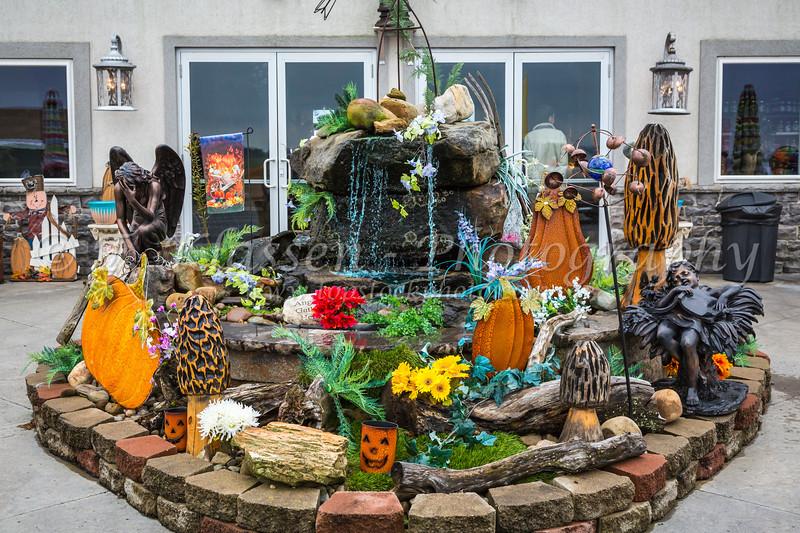 A fall fountain display at Uncle MIkes, near Walnut Creek, Ohio, USA.