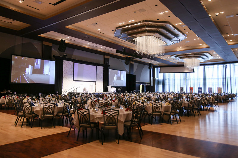 Ohio Union Ballroom Stage and Banquet Setup