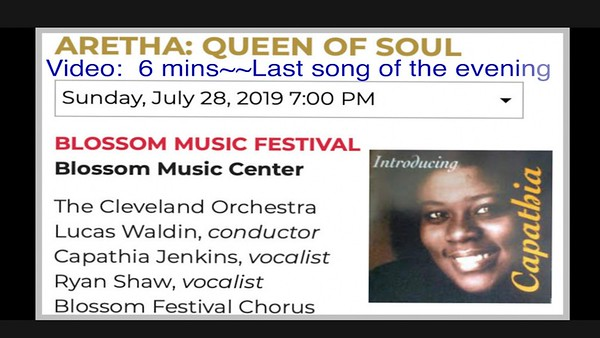 Video:  6 -- Last song of the evening, Blossom Music Center, Aretha Franklin, Sun., July 28, 2019